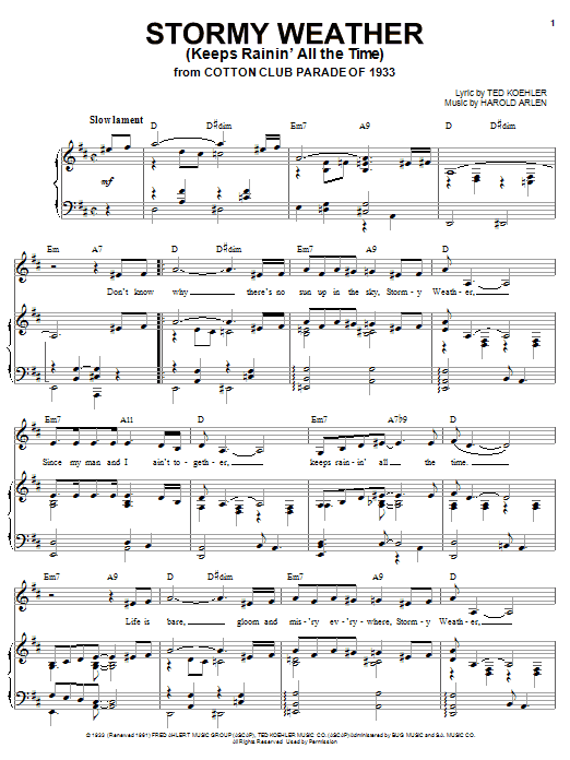 Lena Horne Stormy Weather (Keeps Rainin' All The Time) sheet music notes printable PDF score