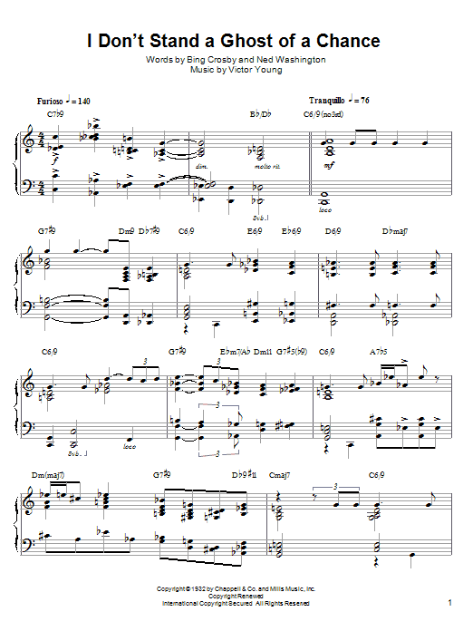 Lennie Tristano I Don't Stand A Ghost Of A Chance sheet music notes and chords. Download Printable PDF.
