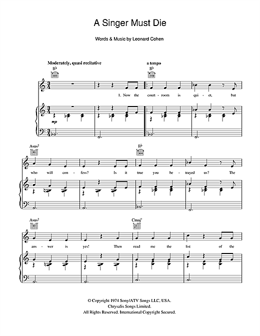 Leonard Cohen A Singer Must Die sheet music notes and chords. Download Printable PDF.