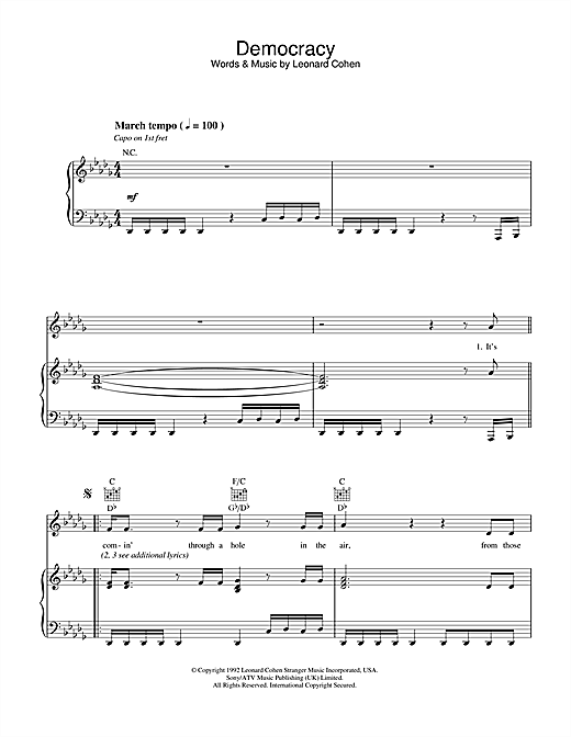 Leonard Cohen Democracy sheet music notes printable PDF score