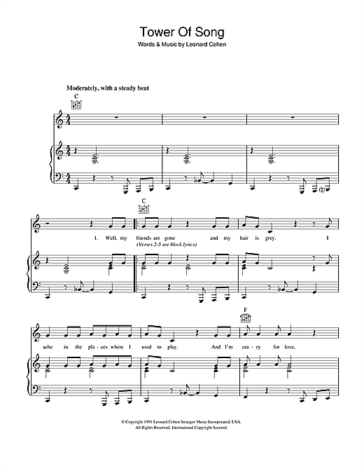 Leonard Cohen Tower Of Song sheet music notes and chords. Download Printable PDF.
