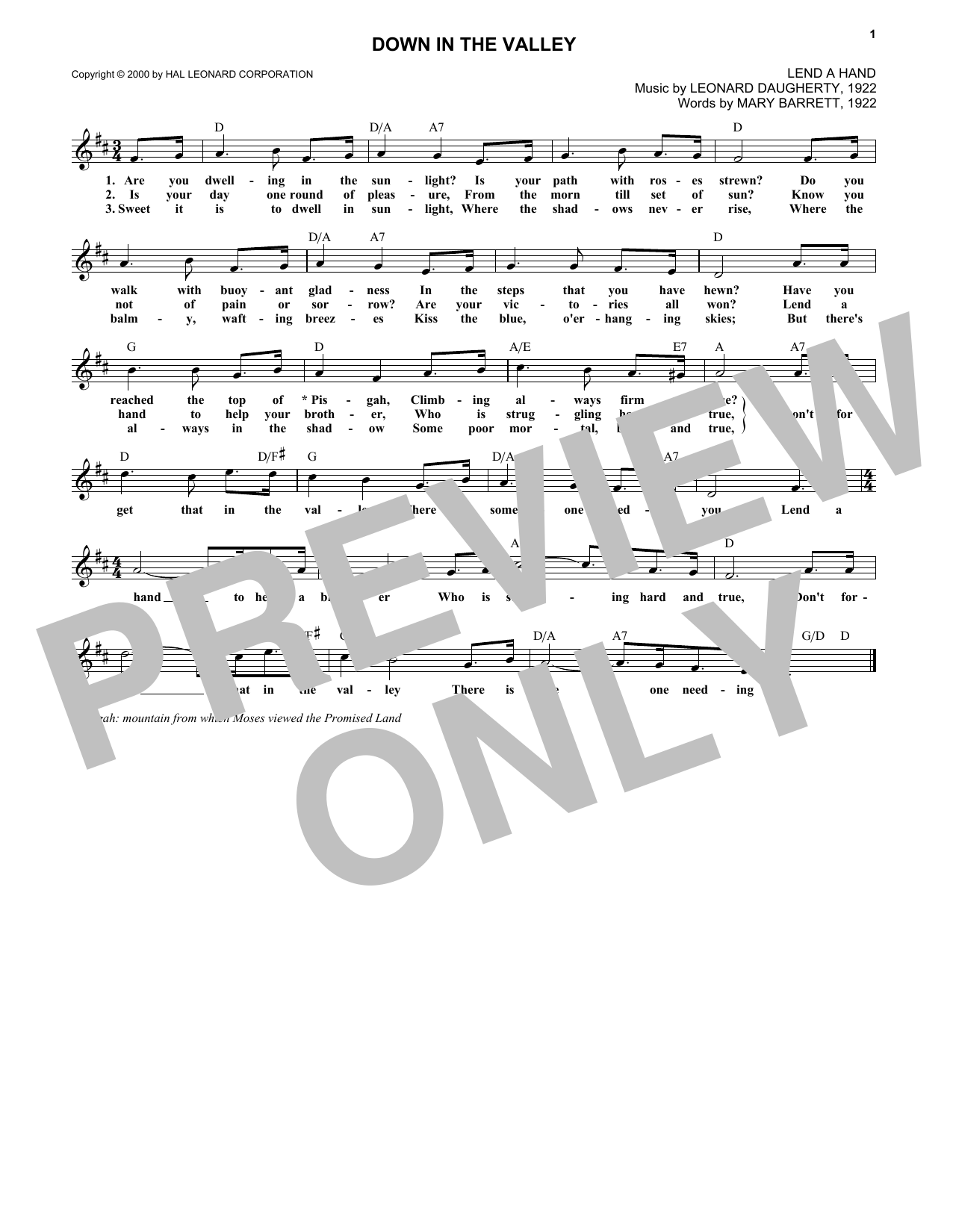 Leonard Daugherty Down In The Valley sheet music notes and chords. Download Printable PDF.