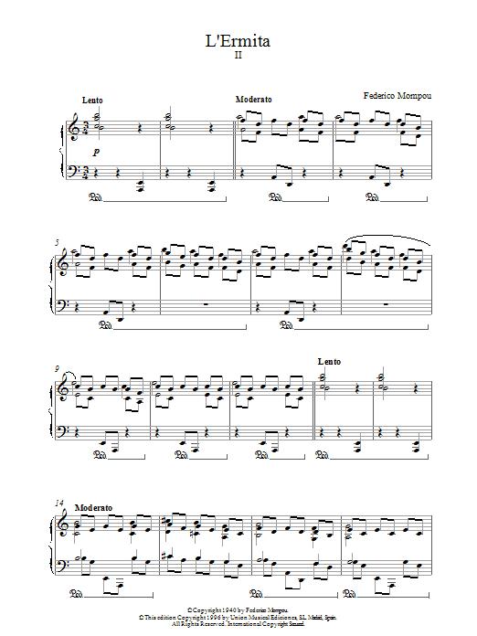 Mompou L'ermita sheet music notes printable PDF score