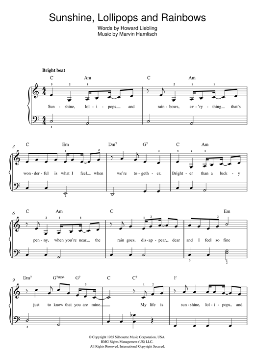 Lesley Gore Sunshine, Lollipops And Rainbows sheet music notes and chords. Download Printable PDF.