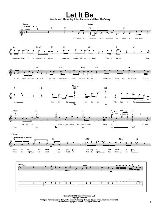 The Beatles Let It Be sheet music notes printable PDF score