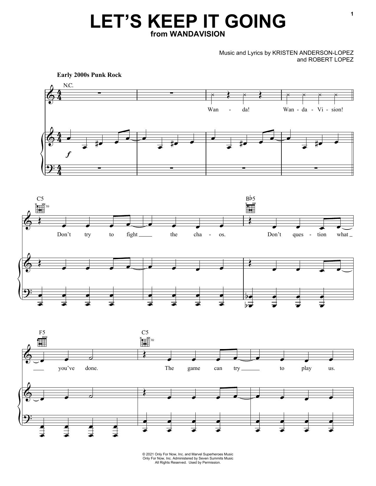Kristen Anderson-Lopez & Robert Lopez Let's Keep It Going (from WandaVision) sheet music notes printable PDF score