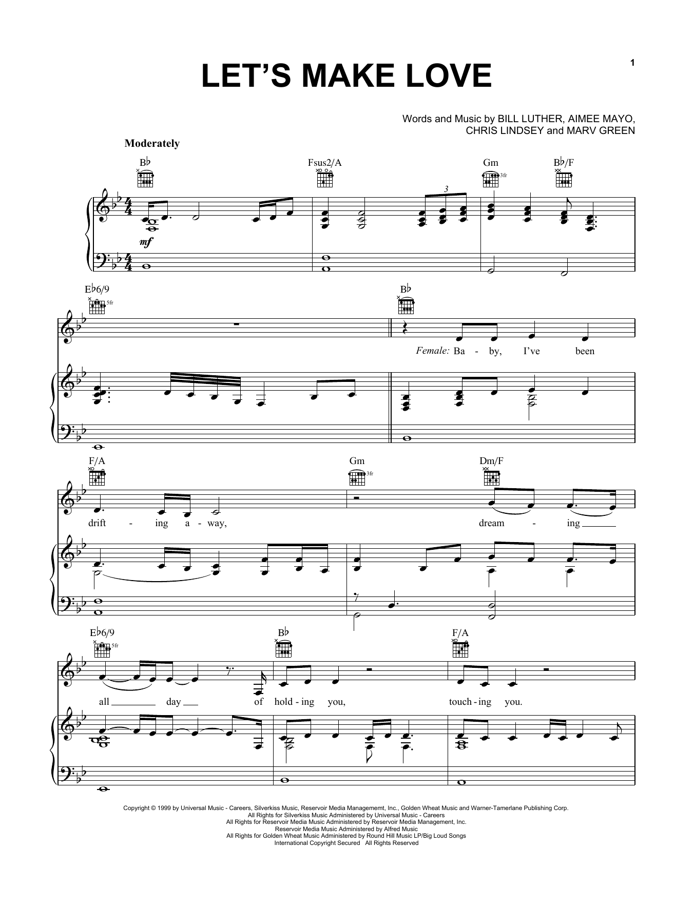 Faith Hill with Tim McGraw Let's Make Love sheet music notes printable PDF score
