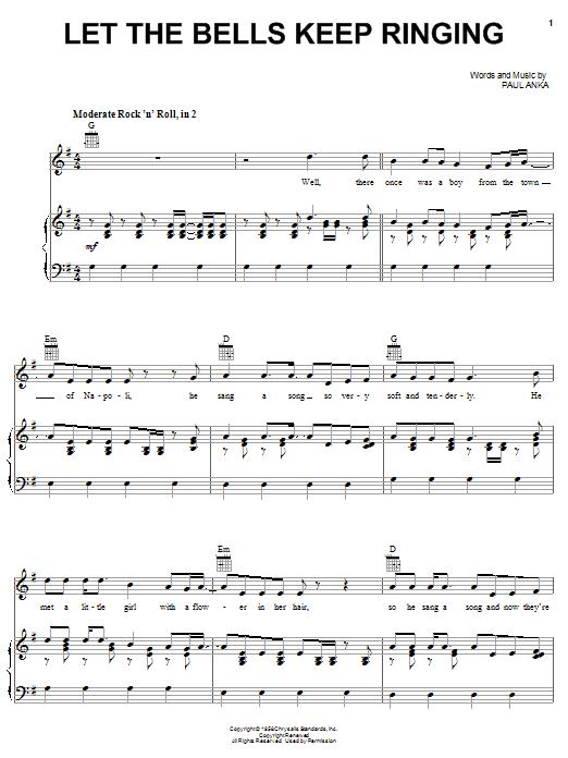 Paul Anka Let The Bells Keep Ringing sheet music notes printable PDF score