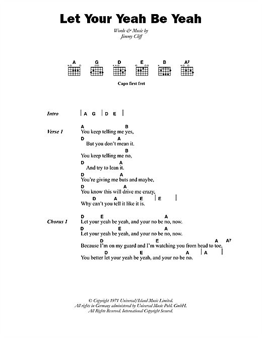 The Pioneers Let Your Yeah Be Yeah sheet music notes printable PDF score