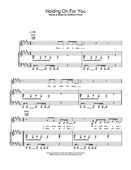 Liberty X Holding On For You sheet music notes printable PDF score