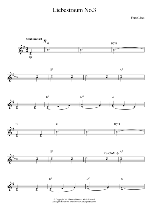 Franz Liszt Liebestraum No.3 (Dream Of Love) sheet music notes printable PDF score