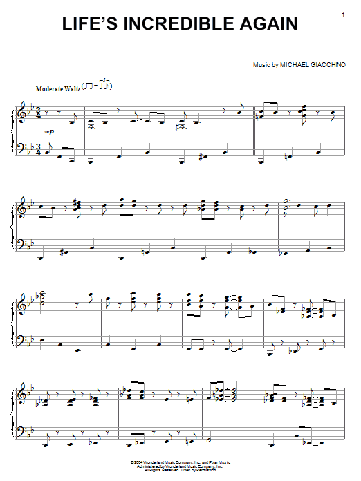 Michael Giacchino Life's Incredible Again (from The Incredibles) sheet music notes printable PDF score