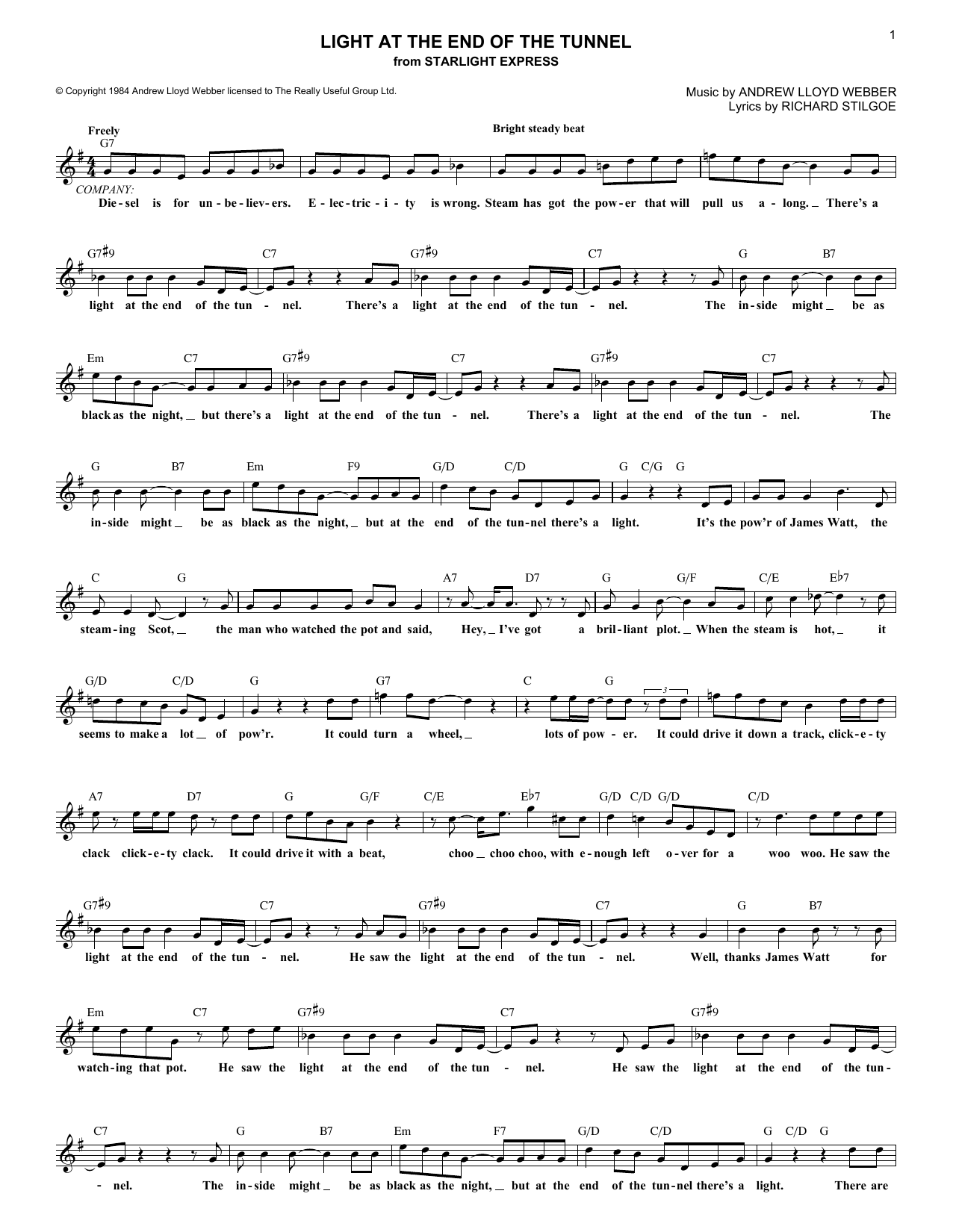 Andrew Lloyd Webber Light At The End Of The Tunnel (from Starlight Express) sheet music notes printable PDF score