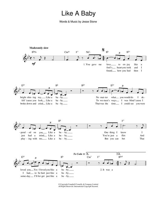 Jesse Stone Like A Baby sheet music notes printable PDF score