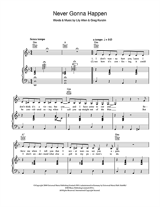 Lily Allen Never Gonna Happen sheet music notes printable PDF score