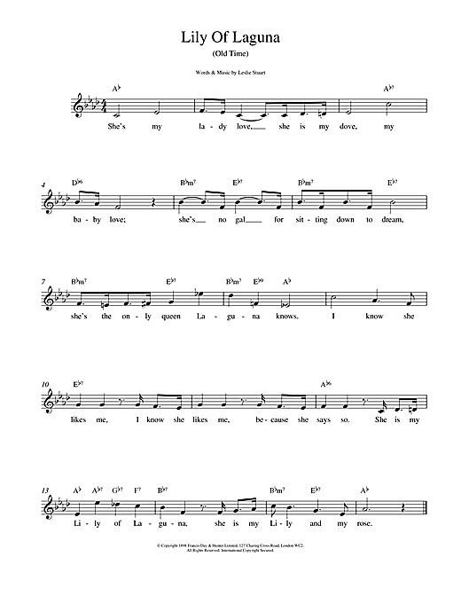 Leslie Stuart Lily Of Laguna sheet music notes printable PDF score