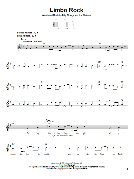 Chubby Checker Limbo Rock sheet music notes printable PDF score