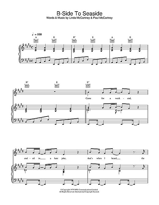 Linda McCartney B-Side To Seaside sheet music notes printable PDF score