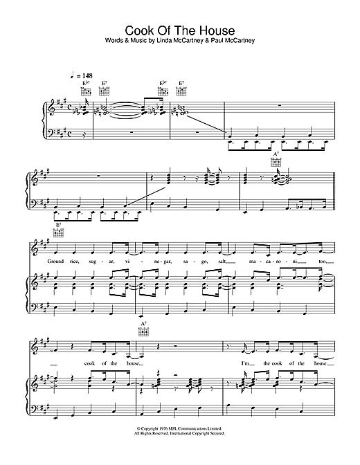 Linda McCartney Cook Of The House sheet music notes printable PDF score