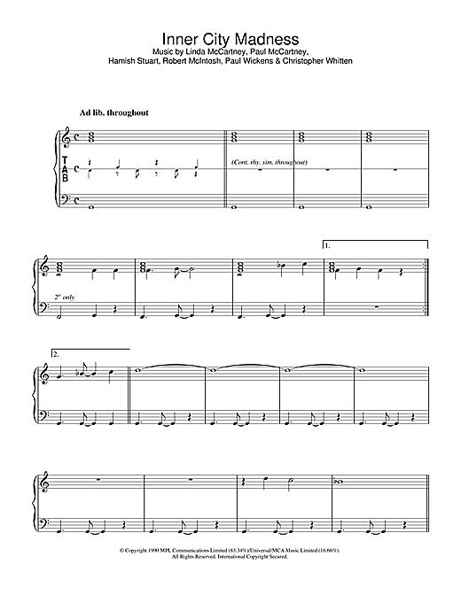 Linda McCartney Inner City Madness sheet music notes printable PDF score