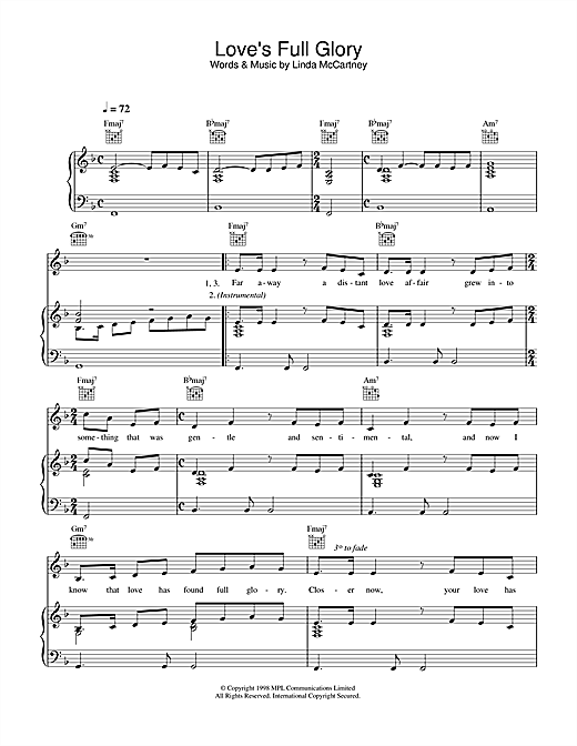 Linda McCartney Love's Full Glory sheet music notes printable PDF score