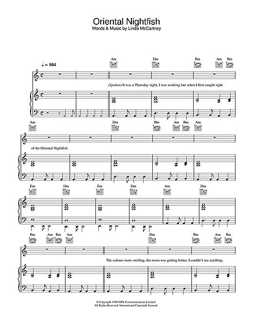 Linda McCartney Oriental Nightfish sheet music notes printable PDF score