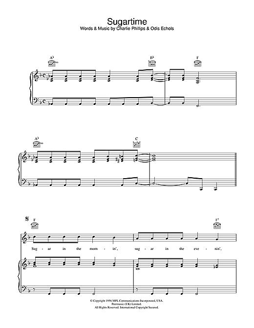 Linda McCartney Sugartime sheet music notes printable PDF score
