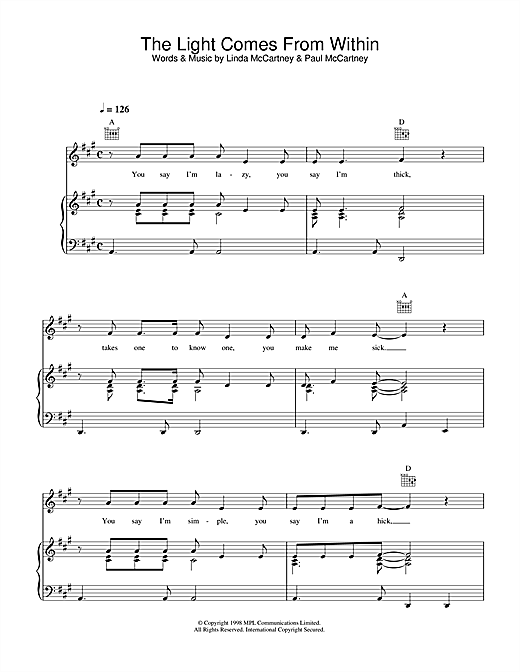 Linda McCartney The Light Comes From Within sheet music notes printable PDF score