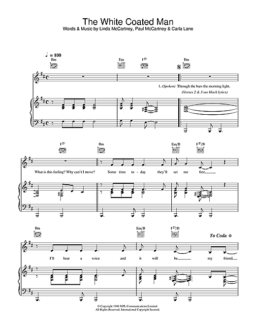 Linda McCartney The White Coated Man sheet music notes printable PDF score