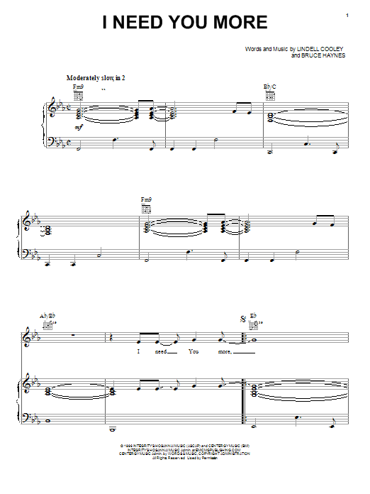 Lindell Cooley I Need You More sheet music notes and chords. Download Printable PDF.