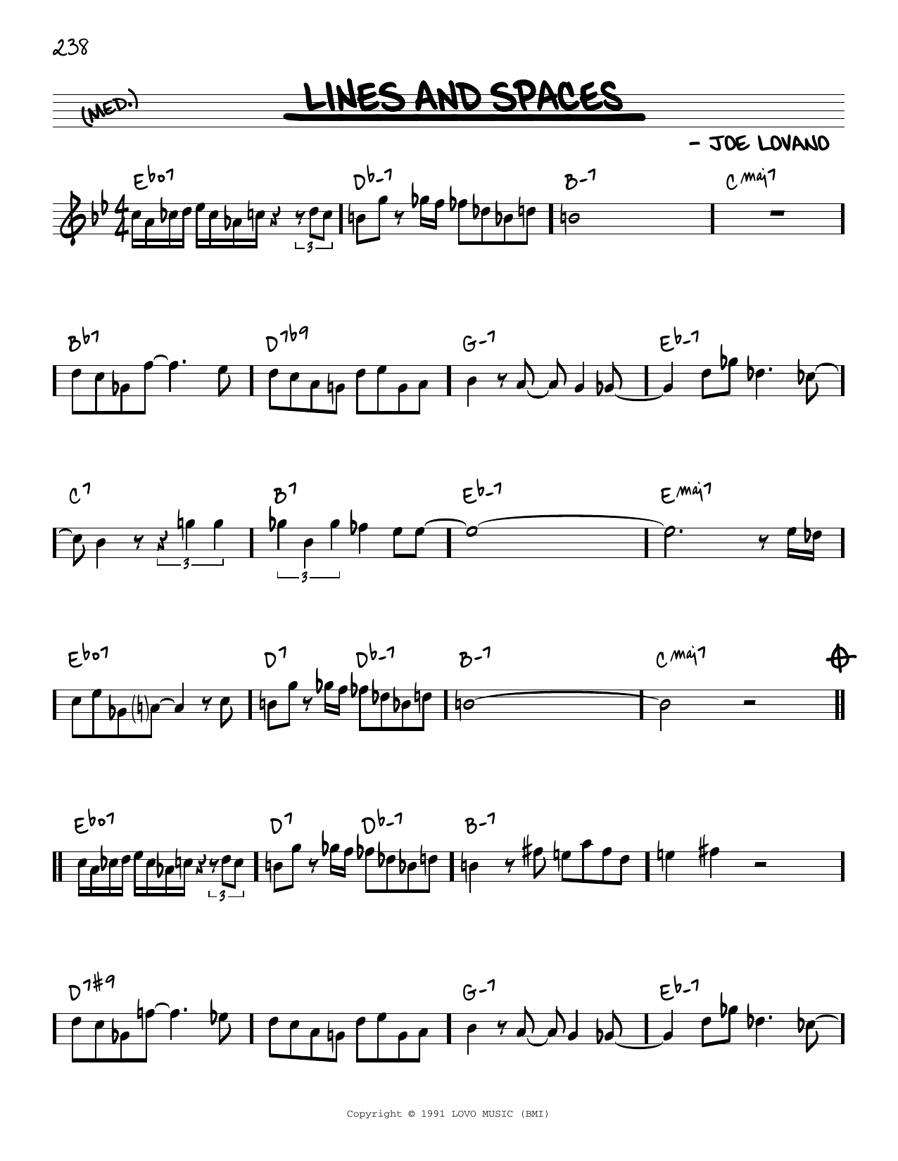 Joe Lovano Lines And Spaces [Reharmonized version] (arr. Jack Grassel) sheet music notes printable PDF score