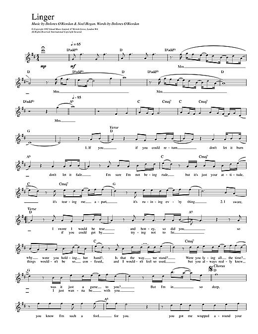 The Cranberries Linger sheet music notes printable PDF score