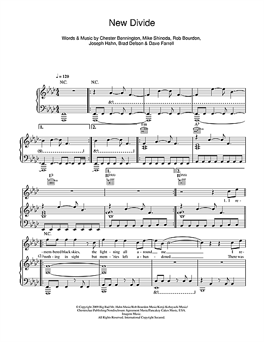 Linkin Park New Divide sheet music notes and chords. Download Printable PDF.