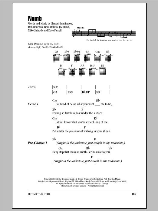 Linkin Park Numb sheet music notes printable PDF score