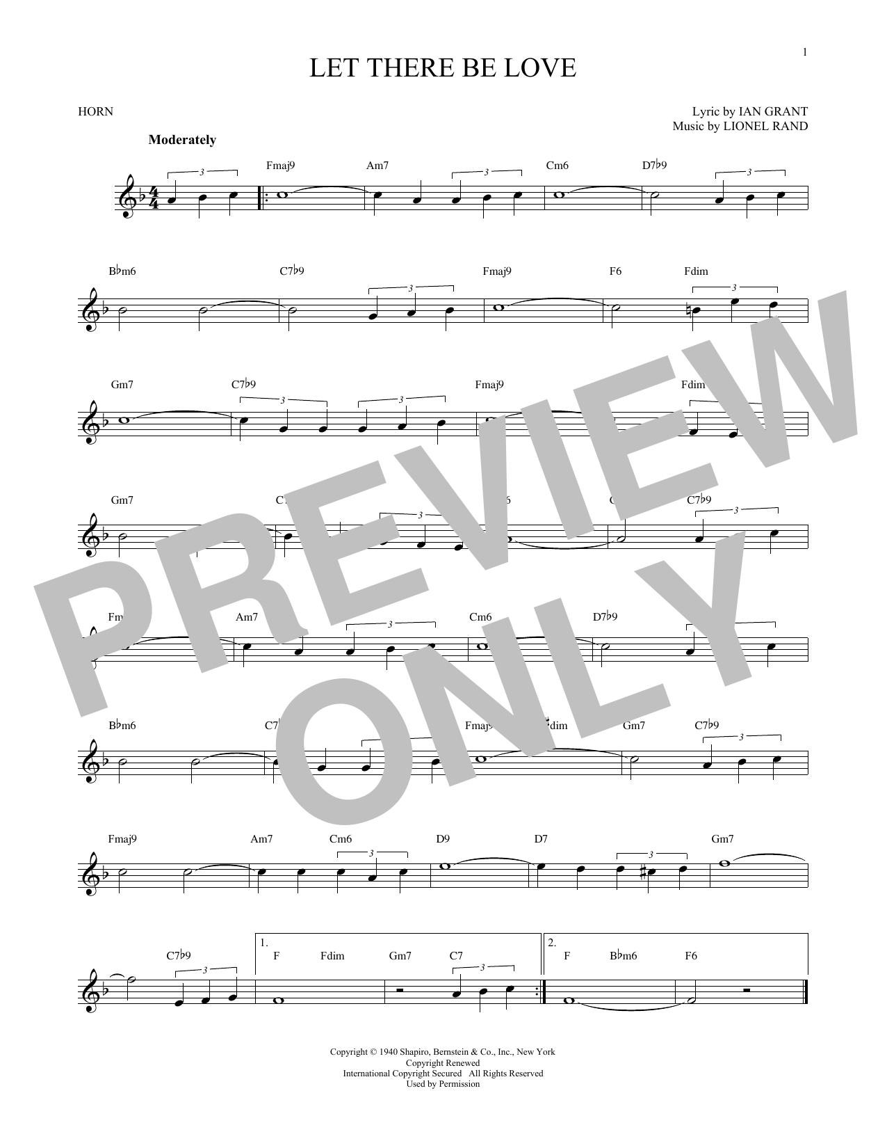 Lionel Rand Let There Be Love sheet music notes and chords - download printable PDF.