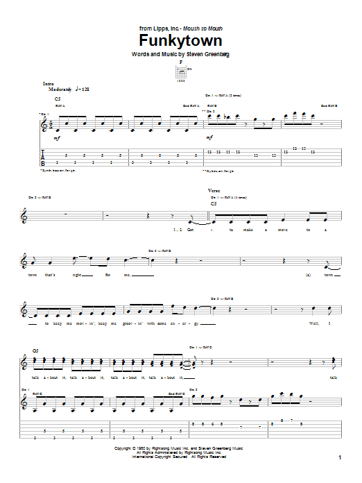 Lipps Inc. Funkytown sheet music notes and chords. Download Printable PDF.