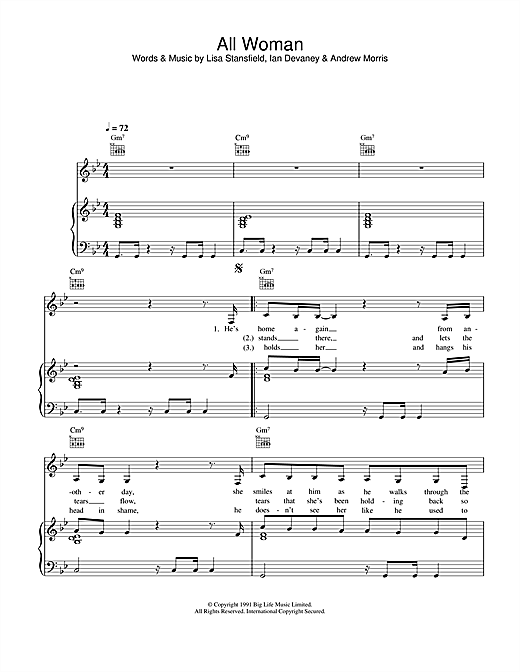 Lisa Stansfield All Woman sheet music notes printable PDF score