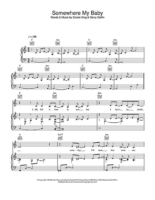 Lisa Stansfield Somewhere My Baby Waits For Me sheet music notes printable PDF score