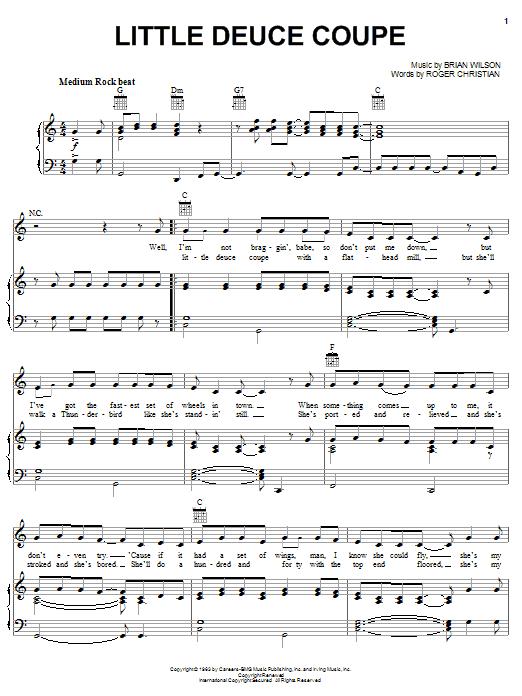 The Beach Boys Little Deuce Coupe sheet music notes printable PDF score