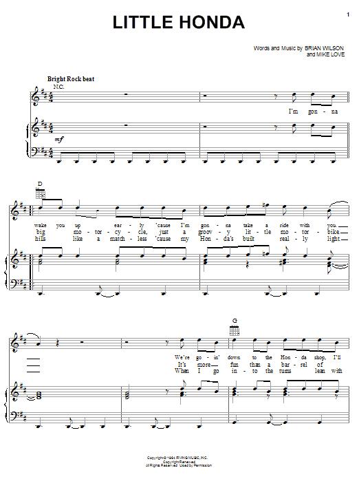 The Beach Boys Little Honda sheet music notes printable PDF score