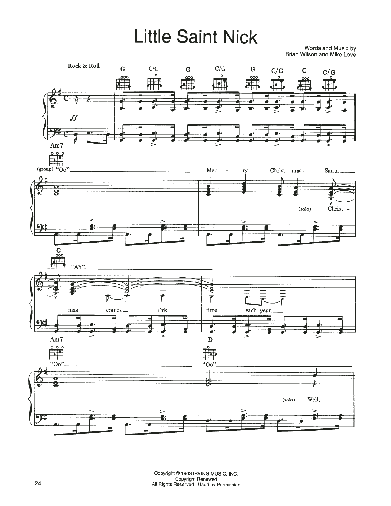 John Denver and The Muppets Little Saint Nick (from A Christmas Together) sheet music notes printable PDF score