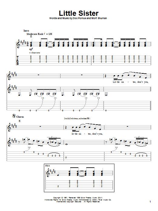 Elvis Presley Little Sister sheet music notes printable PDF score