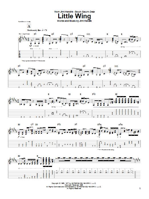 Jimi Hendrix Little Wing sheet music notes printable PDF score