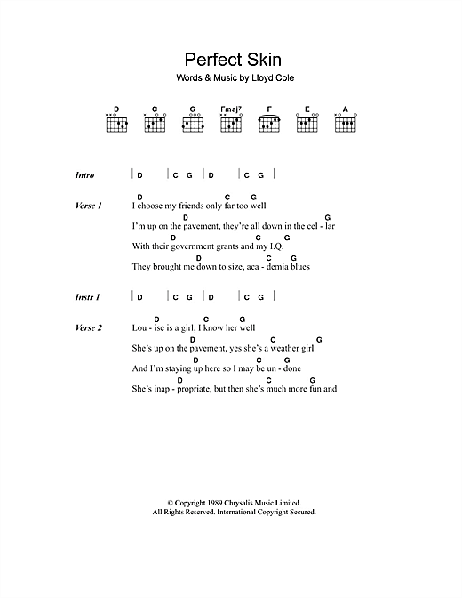 Lloyd Cole Perfect Skin sheet music notes and chords. Download Printable PDF.