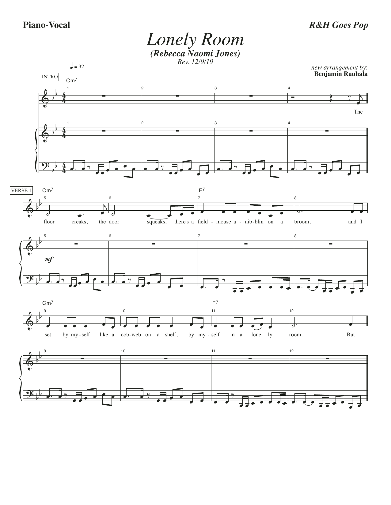 Rodgers & Hammerstein Lonely Room [R&H Goes Pop! version] (from Oklahoma!) sheet music notes printable PDF score