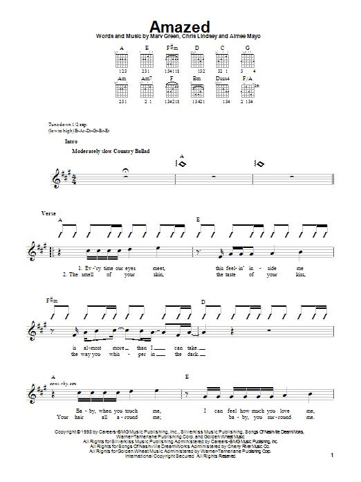 Lonestar Amazed sheet music notes printable PDF score
