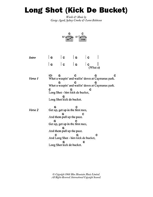 The Pioneers Long Shot (Kick De Bucket) sheet music notes printable PDF score