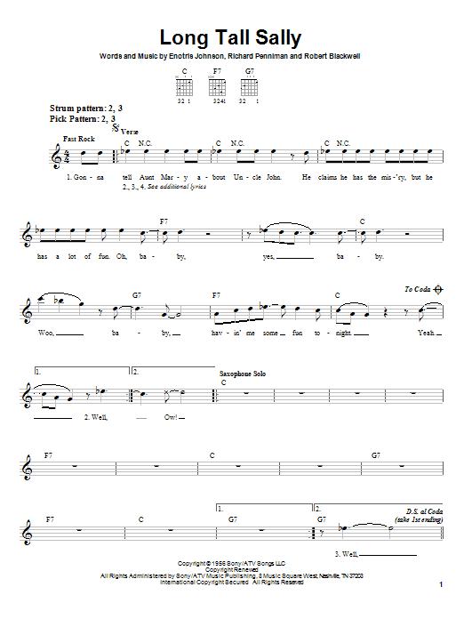 Little Richard Long Tall Sally sheet music notes printable PDF score
