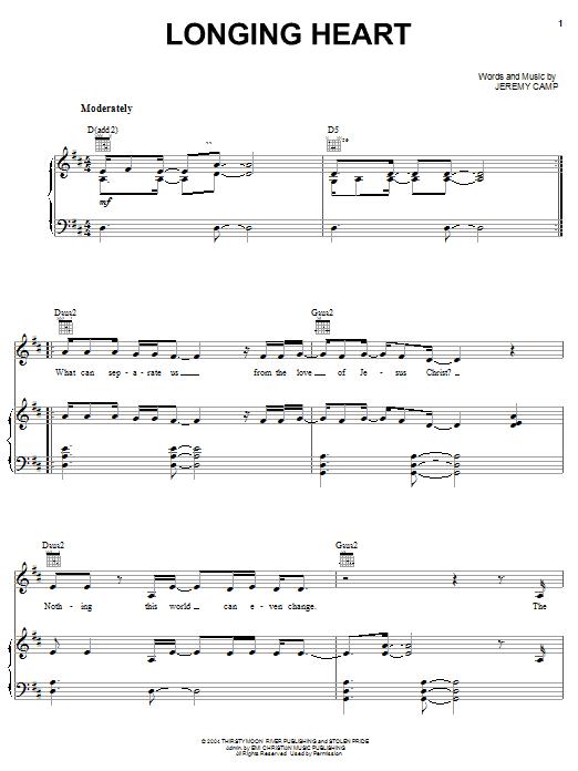 Jeremy Camp Longing Heart sheet music notes printable PDF score