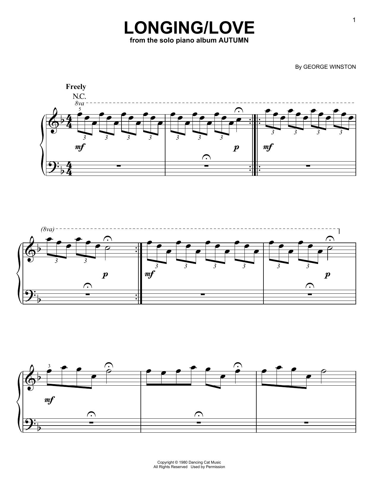George Winston Longing/Love sheet music notes printable PDF score